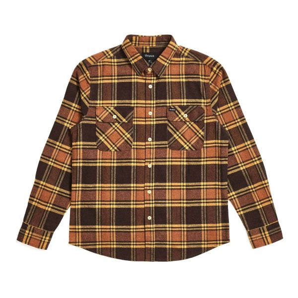 Bowery L/S Flannel Hemd brown/gold