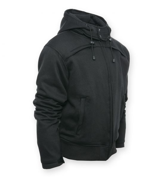 Safety 4 Motorrad Hoodie mit abnehmbarer Kapuze schwarz