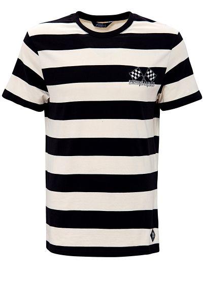 Herren T-Shirt stripped - Hot Rod - black/white
