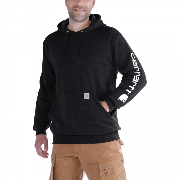 MIDWEIGHT SLEEVE LOGO HOODED SWEATSHIRT BLACK