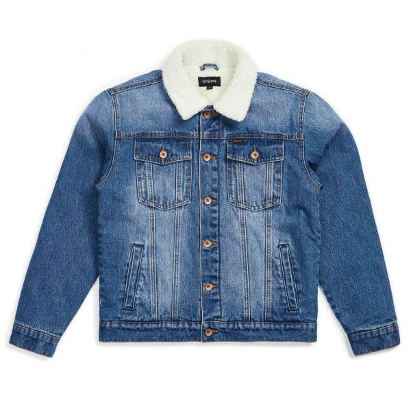Cable Sherpa Denim Jacket worn indigo