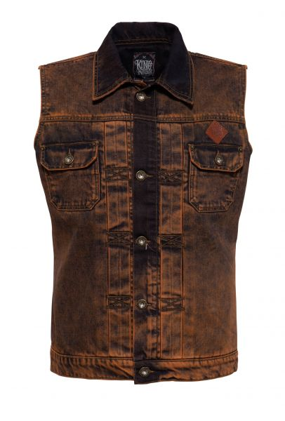 Herren Jeans-Weste rust washed