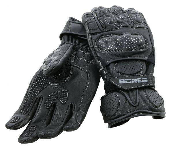 Dark Black Motorradhandschuhe, schwarz Rindsleder