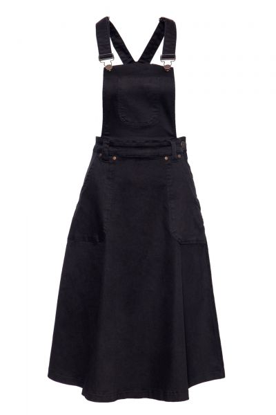 Damen Latzrock Workwear-Optik schwarz