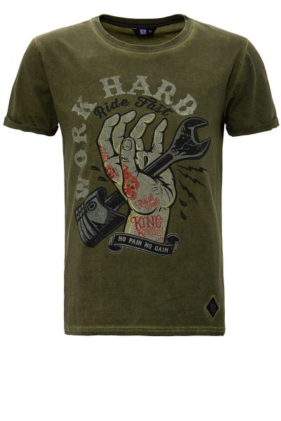 OIL WASHED PRINT T-SHIRT IM USED LOOK WORK HARD