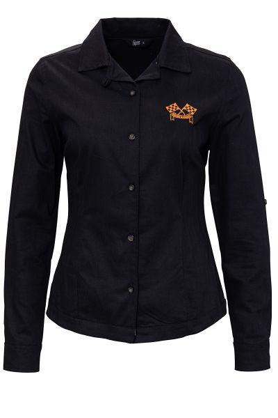 Damen Bluse Motor Service - Black
