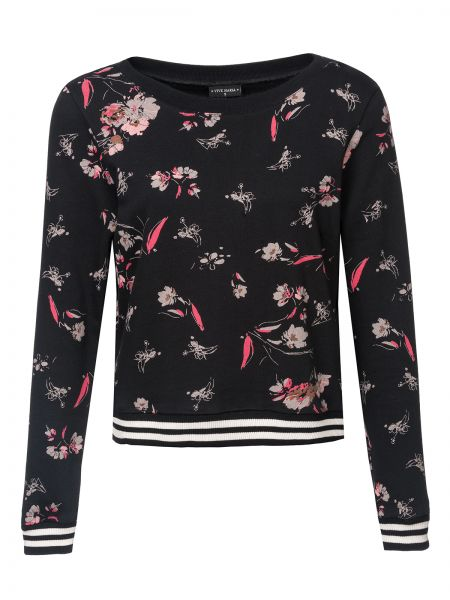 Cosy Flower Sweater black allover