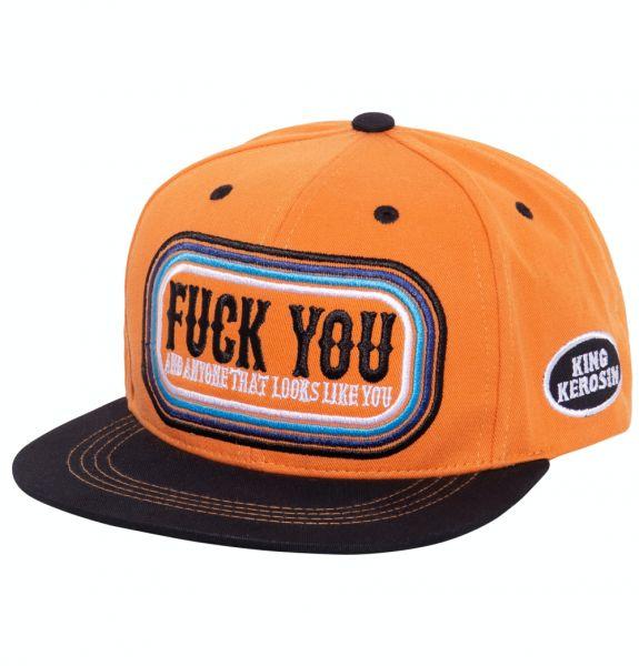 Herren Snapback Cap F*ck you orange