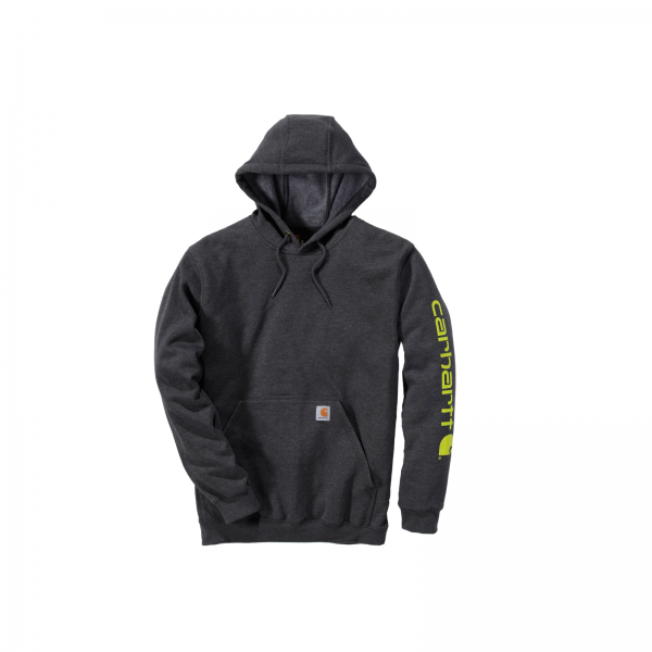 MIDWEIGHT SLEEVE LOGO HOODED SWEATSHIRT CARBON HEATHER