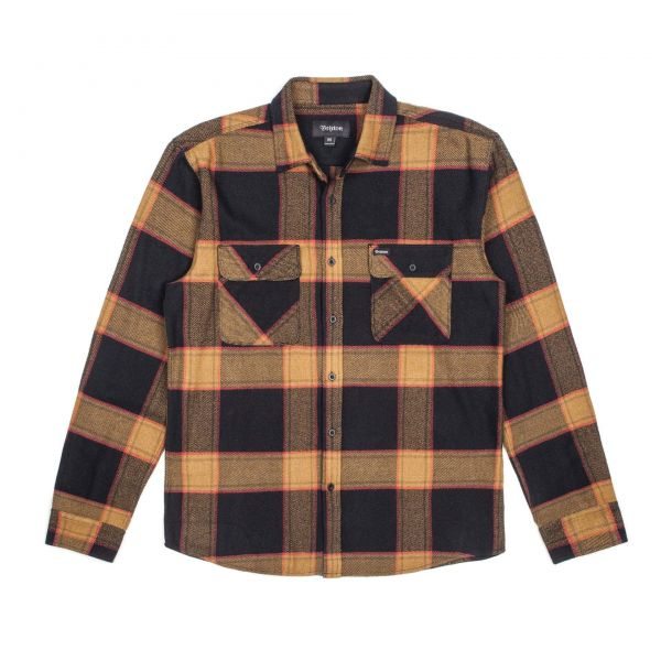 Bowery L/S Flannel Hemd black/gold