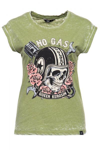 Damen Vintage T-Shirt No Gas No Glory olivgrün
